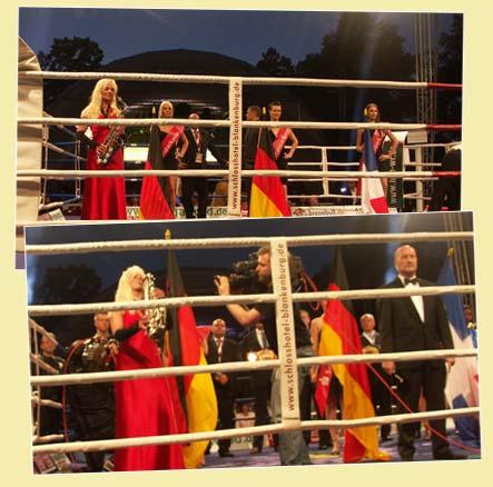 Saxophonistin spielt Deutsche Nationalhymne live bei Box Weltmeisterschaft