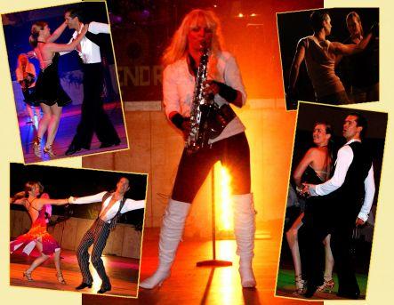 Saxophonistin mit Tanzshow